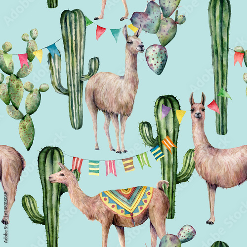 Watercolor seamless pattern with llama, cacti and flag garland. Hand painted beautiful illustration with animals and floral on pastel blue background. For design, print, fabric or background.