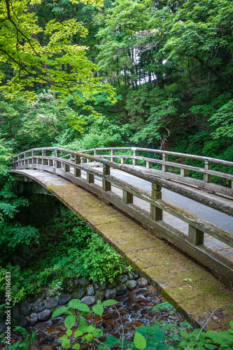 Traditional japanese wooden bridge in Nikko, Japan - 248016633