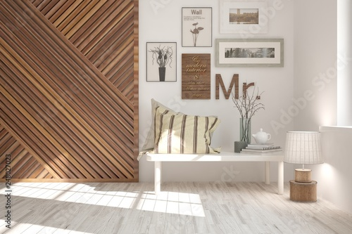 White stylish minimalist room with home decor. Scandinavian interior design. 3D illustration - 248027023