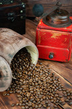 Coffee bean closeup on wooden table. - 248034814