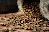 Coffee bean closeup on wooden table. - 248034842