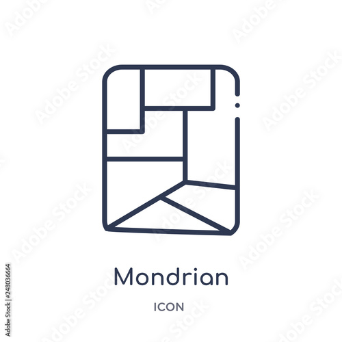 mondrian icon from museum outline collection. Thin line mondrian icon isolated on white background. © Meth Mehr