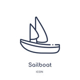 sailboat icon from nautical outline collection. Thin line sailboat icon isolated on white background. - 248039848