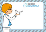 My first communion. Boy with dove. Space for text