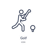 golf icon from olympic games outline collection. Thin line golf icon isolated on white background.