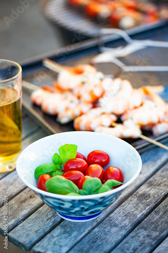 refreshing summer barbecue skewers with shrimps and vegetables - 248053059