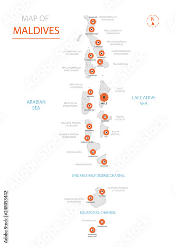 Stylized vector Maldives map showing big cities, capital Male ...