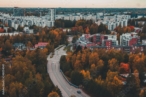 Matinkylä in the autumn with trees and houses, Espoo Finland - 248054045