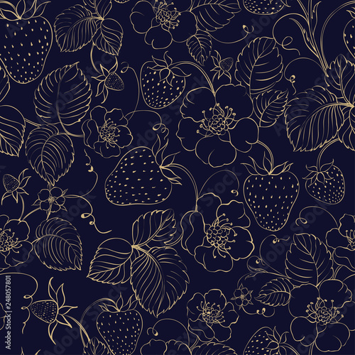 Seamless pattern of golden strawberry on dark background. Vector illustration. - 248057801