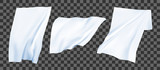 White bedsheets on the wind. Realistic vector set.