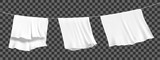 White sheets dried on a rope on the wind. Realistic vector.
