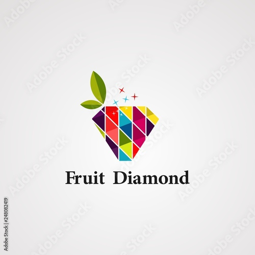fruit diamond logo vector, icon, element and template - 248082419