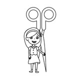 little student girl with scissors