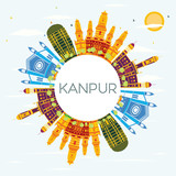Kanpur India City Skyline with Color Buildings, Blue Sky and Copy Space.