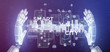 Leinwandbild Motiv Cyborg hand holding Smart city user interface with icon, stats and data 3d rendering