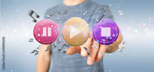 Man holding a Music button and notes playing  3d rendering - 248095638