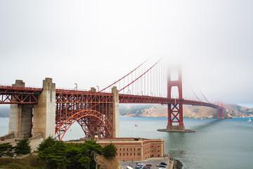 Golden Gate bridge covered in fog © Dennis