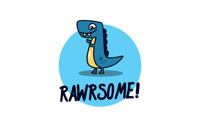 Rawrsome pun poster with dinosaur