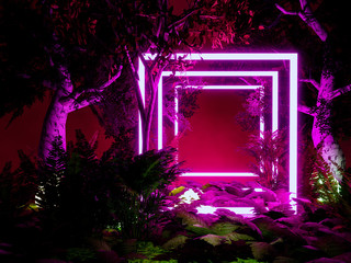 rectangle neon light in tropical background,3d render