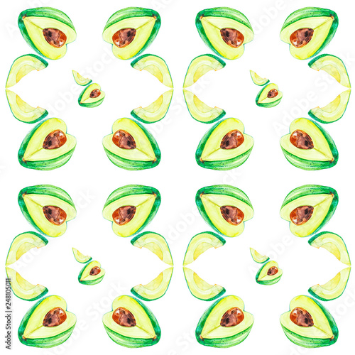 Watercolor illustration avocado whole and slice isolated on white background. Hand painting on paper.Seamless pattern © Marina