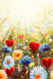 Original oil painting Delicate flowers and red hearts in the rays of light - a romantic background for an invitation or greeting card for a wedding, Valentine's Day, for loved ones