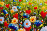 Flower White yellow blue wildflowers daisies and red hearts of lovers - romantic landscape oil hand made painting, Love concept. Background for Postcard beloved for wedding and Valentine Day lovers.