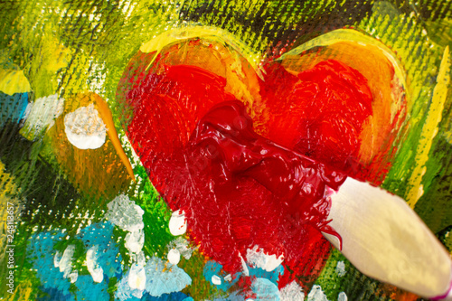 Macro closeup Art tool of artist palette knife art paints beautiful oil painting on canvas of red heart and flowers on artwork. Postcard beloved for wedding and Valentine Day lovers. - 248113657