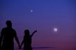 Leinwandbild Motiv Couple under the Moon and Milky way stars. My astronomy work.