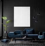 Mock up poster frame in Scandinavian style hipster interior. 3D illustration. - 248120269