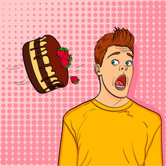 Pop art background, point. A festive chocolate cake with strawberries flies to the head of a guy, name-finding.