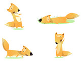 Vector set of cartoon funny foxes isolated on white background. Cute, funny animals, fox character doing various actions used for magazine, book, poster, card, web pages. Vector illustration