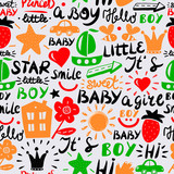 Seamless kids pattern with words and inscriptions Little, Baby, Boy, Girl, Smile, Hi, Star