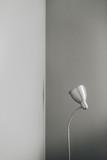 Silver floor lamp at grey wall. Minimal modern interior design concept. - 248129005
