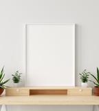 Mock up poster frame in interior background with decor on shelf, 3d render