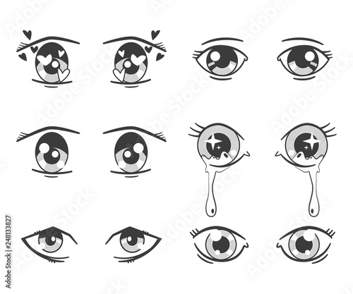 Anime eyes with different expressions. Vector black silhouette icons set isolated on white background. - 248133827