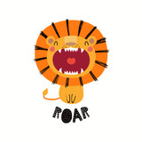 Hand drawn vector illustration of a cute funny lion with open mouth, with lettering quote Roar. Isolated objects on white background. Scandinavian style flat design. Concept for children print.