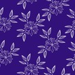 Hand drawn floral embellishment, repeat seamless vector pattern. White line art on indigo color background. - 248135426
