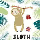 Hand drawn vector illustration of a cute sloth among tropical plants leaves, with text. Isolated objects on white background. Scandinavian style flat design. Concept for children print. - 248135415