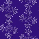 Hand drawn floral embellishment, repeat seamless vector pattern. White line art on indigo color background. - 248135425