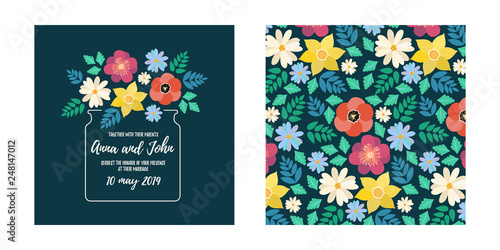 Modern style wedding invitation card with flat flower blossom, frame background, floral elements label and seamless pattern - back side. Vector design template, isolated. Save the date welcome card - 248147012