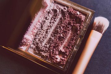 palette with crushed powder eyeshadows in nude and blush tones on dark background with brush