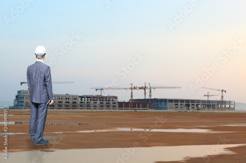industry of construction site and engineer working - 248149451