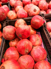 Pomegranate on the counter in the store