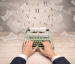 First person perspective hand typewriting with flying documents around  - 248156670