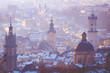 Leinwanddruck Bild - Lviv city overview, landscape with old cathedrals and towers, Ukraine