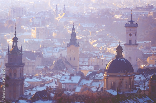 Leinwanddruck Bild Lviv city overview, landscape with old cathedrals and towers, Ukraine
