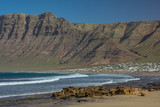 Famara beach, an important surf area in Lanzarote, Canary Islands - 248164220