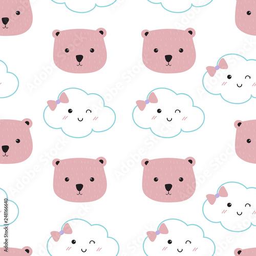 Pink kawaii seamless pattern with cloud and bear