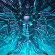 Leinwanddruck Bild - Mind of the machine / 3D illustration of robotic science fiction female artificial intelligence hardwired to computer core
