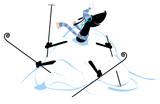 Cartoon dog skier and a big snowdrift illustration. Cartoon dachshund a skier appears from the big snowdrift illustration